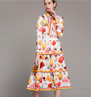 18 Spring Occident popular Printed shirt+elastic waist a-line skirt fashion suit