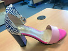 Ladies Leather Blue Patterned Block Heeled Fun Sandals Shoes - Yull Harrogate
