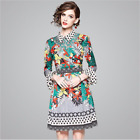 Spring Occident new fashion elegant temperament printed horn sleeve dress SMLXL
