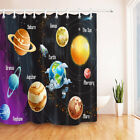 """71X71"""" Polyester Fabric Shower Curtain Solar System of Planets Print BathMat Rug"""