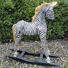 Zebra Rocking Horse Wood Carving Ornament Hand Made Painted Carved Fair Trade