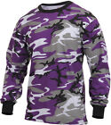 Mens Purple Camouflage Long Sleeve Tactical Military T-Shirt Ultra Violet LS Tee
