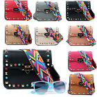 Women Stylish Studded Crossbody Bags Ladies With Aztec Colorful Shoulder Strap