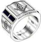 Men's 0.925 Sterling Silver Sapphire Gemstone Blue Lodge Freemason Masonic Ring