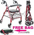Lightweight Wheeled Rollator Walker with Cable Brakes and Tray - Red