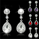 Trendy Rhinestone Bridal Water Drop Earrings Weddings Crystals Stud Earings M&FO