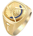 Customizable Men's 10k or 14k Gold Past Master Freemason Masonic Ring