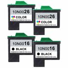 4-PACK Remanufactured Lexmark 16 & 26 Black and Color Ink Cartidges for Printer