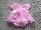 BABY GIRLS 3 PIECE PINK SATIN FRILLY DRESS PANTS & HAT SET age 0-3 3-6 6-9 month