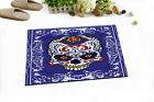 """Blue White Skull Fabric Shower Curtain Set Day of The Dead BAthroom Curtains 71"""""""