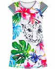 Deux par Deux Girls' Tropical Print Cover-up Dress Playa Del Mar, Sizes 4-12