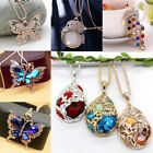 Women Long Chain Sweater Necklaces Pendant Fashion Jewelry Crystal Flower Animal