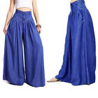 Women Bottom Casual Wide Leg Long Cotton Loose Pants Plus Size Black Casual Blue