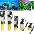 3 in 1 Mini Aquarium Filter Fish Tank Submersible Oxygenation Pump Spray MNE