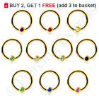 GOLD Ball Closure BCR Captive Bead Ring Hoop Ear Nose Nipple Steel CRYSTAL Ball