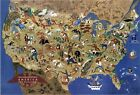 """William Gropper's America, its folklore Pictorial map - 24""""x36"""" Canvas Art Print"""
