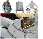 Women Hoodie Large Pocket Pet Dog Cat Kangaroo Holder Carrier Coat Pouch Tops QW