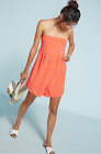 Anthropologie Smocked Strapless Romper by Saturday/ Sunday Coral XS S M NWT