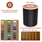 "Fil Au Chinois 50g ""Lin Cable"" WAXED LINEN thread #180 BLACK, 5 sizes avail"