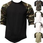 Raglan 3/4 Sleeve T Shirts Baseball Mens CAMO Plain Tee Jersey Team Sports image