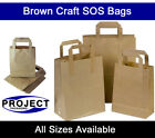 Small Brown Kraft Paper SOS Carrier Bags Flat Handles Takeaway Gifts Food Safe