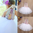 US Baby Kids Girls Party Dresses Tulle Tutu Lace Floral Dress Backless Sundress