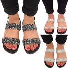 Womens Glittery Pearl Studded Fashion Party Open Toe Ladies Flat Slipper Sandals
