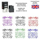 PERSONALISED HANDMADE BY SCROLL SELF INKING RUBBER STAMP CRAFT HOBBY CARD MAKING