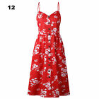 UK Womens Cami Dress Strappy Tropical Ladies Summer Pastels Midi Swing Sundress