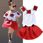 Kids Baby Girl Off Shoulder 3D Rose Flower Blouse Top Dress Skirt Outfit Clothes