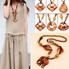 Fashion Boho Jewelry Necklace Wood Pendant Hand Made Bead Long Ethnic Style