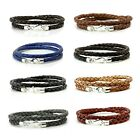 Mens Leather Bracelet-Genuine Leather Wristband-Sterling Silver-Double Wrap
