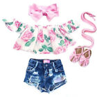 USA Toddler Kid Baby Girl Clothes Off Shoulder Flower Tops Ripped Shorts Outfits