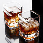 2Pcs Clear Whiskey Glass Crystal Scotch Cup Cigar Holder Groove Bar Drinking Mug