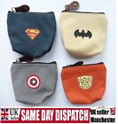 SUPERHERO ZIP COIN PURSE WALLETS BOYS GIRLS KIDS CHILDRENS BATMAN SUPERMAN GIFT