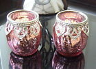 Moroccan VINTAGE LACE Tea Light Candle Holder Glass Wedding Gift PINK