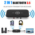 2 In 1 Wireless Stereo Audio Bluetooth Transmitter Receiver Adapter Black LOT DF