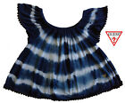 NWT GUESS Girls Blue & White Tie Dye Off-the-Shoulder Top(Size 5, 6) MSRP$32.50