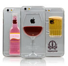 Liquid 3D Wine Glass Cocktail Bottle Pattern Case Cover For iPhone 6 6S 7 8 Plus