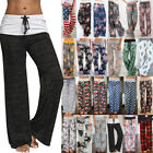 Plus size Ladies Loose Floral Yoga Palazzo Trousers Womens Summer Wide Leg Pants