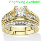 Women 14k Gold Plated Princess Cut AAA CZ Wedding Ring Set Size 5,6,7,8,9,10,11