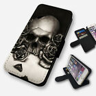 lumia 520 cases and covers - SKULL AND ROSES ILLUSTRATION FLIP PHONE CASE COVER WALLET FAUX LEATHER
