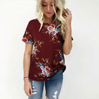 Plus Size Women's Blouse Short Sleeve Floral Print T-Shirt Comfy Casual Tops Hot