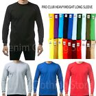 Pro Club Heavy Cotton Long Sleeve Crew Neck T Shirt Mens Blank Casual Plain Tee image