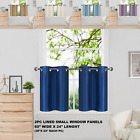 """Short Silky Insulated Lined Blackout Window Curtain Panels 30""""X24"""" 1 Pair D2"""