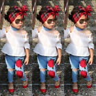 USA Toddler Kids Girls Lace Tops Flower Denim Pants Jeans Outfits Set Clothes