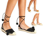 Ladies Womens Flat Espadrille Sandals Pom Pom Lace Up Summer Beach Shoes Size