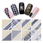 Nail Art 3D Stickers Lattice Houndstooth Leopard Manicure Transfer Decals Decor
