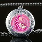 Alice in Wonderland Cheshire Cat Silver Photo Locket Pendant Chain Free Gift Bag