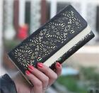 Women Hollow Out Leather Long Wallet Purse Card Coin Holder Double Color Clutch